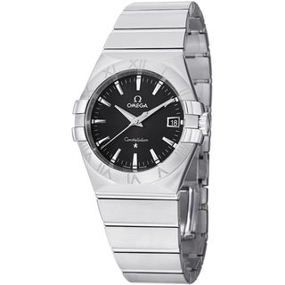 Omega Men's 'Constellation' Black Dial Stainless Steel Quartz Watch