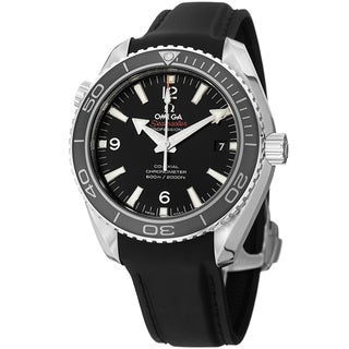 Omega Men's 'Planet Ocean' Black Dial Black Rubber Strap Watch