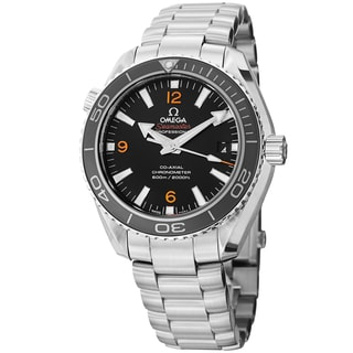 Omega Men's 'Planet Ocean' Black Dial Stainless Steel Chrono Watch