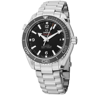 Omega Men's 'Planet Ocean' Black Dial Stainless Steel Co- Axial Watch