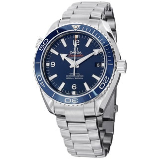 Omega Men's 'Planet Ocean' Blue Dial Stainless Steel Automatic Watch