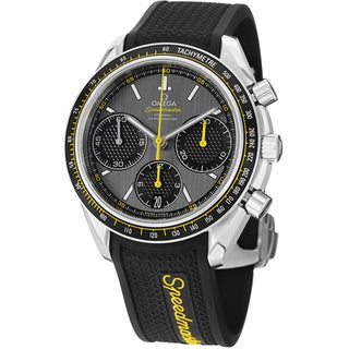 Omega Men's 'Speedmasteracing' Grey Dial Black Rubber Strap Watch