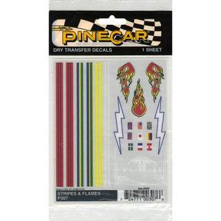 "Pine Car Derby Dry Transfer Decal 4""X5"" Sheet-Stripes & Flames"