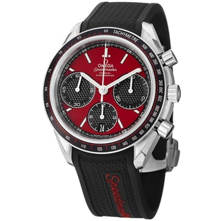 Omega Men's 326.32.40.50.11.001 'Speedmasteracing' Red Dial Black Rubber Strap Watch