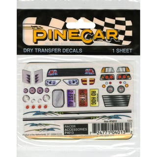 Pine Car Derby Dry Transfer Decal 3 x 2.5-inch Sheet-Racer Accessories