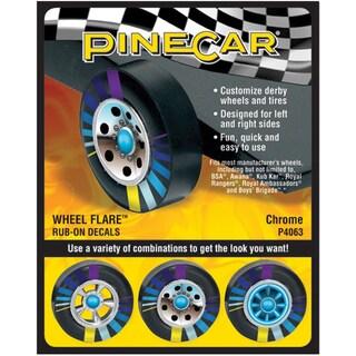 Pine Car Derby Wheel Flare Rub-On Decals-Chrome