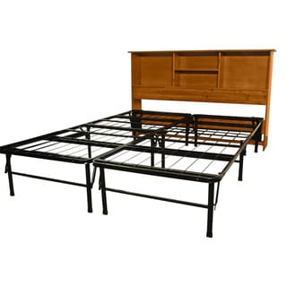 DuraBed Full-size Steel Foundation & Frame-in-One Mattress Support System with All Wood Bookcase Headboard Bed Frame