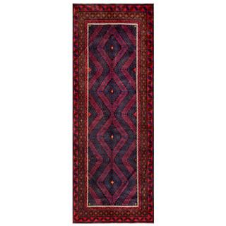 Afghan Hand-knotted Tribal Balouchi Red/ Grey Wool Rug (4'5 x 12')