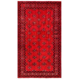 Herat Oriental Afghan Hand-knotted Tribal Balouchi Red/ Black Wool Rug (4'6 x 8')