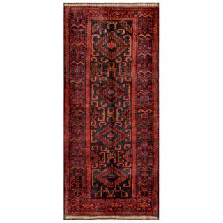 Afghan Hand-knotted Tribal Balouchi Red/ Grey Wool Rug (4' x 9')