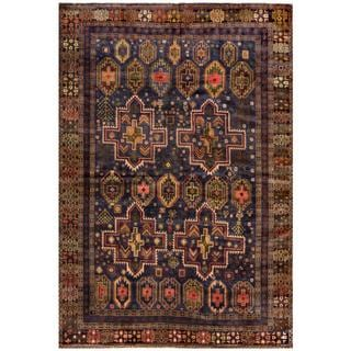 Afghan Hand-knotted Tribal Balouchi Navy/ Tan Wool Rug (6'3 x 9'4)