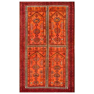 Afghan Hand-knotted Tribal Balouchi Orange/ Red Wool Rug (5'10 x 9'10)