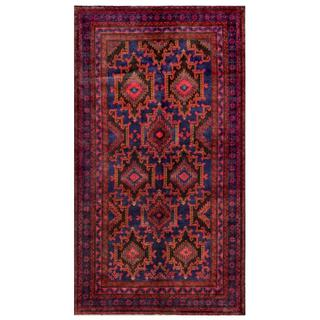 Afghan Hand-knotted Tribal Balouchi Navy/ Red Wool Rug (5'9 x 10'6)
