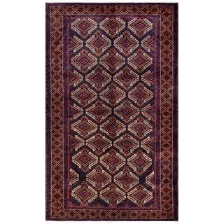 Afghan Hand-knotted Tribal Balouchi Tan/ Navy Wool Rug (6' x 10')