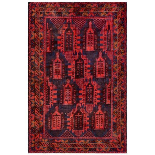Herat Oriental Afghan Hand-knotted Tribal Balouchi Wool Rug (5'9 x 8'9) - 5'9 x 8'9 12399171