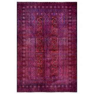 Afghan Hand-knotted Tribal Balouchi Blue/ Red Wool Rug (5'4 x 8')