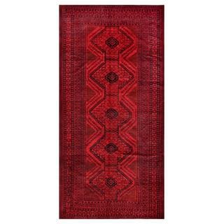 Afghan Hand-knotted Tribal Balouchi Red/ Black Wool Rug (5'10 x 11'9)