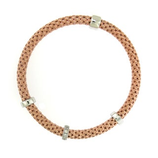 Sterling Silver 18K Rose Gold Plated Stretch Bracelet (Italy)