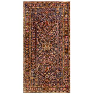Afghan Hand-knotted Tribal Balouchi Gold/ Navy Wool Rug (4'5 x 8'8)