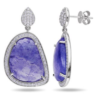 Miadora Signature Collection 14k White Gold Tanzanite and 3/4ct TDW Diamond Earrings (G-H, SI1-SI2)