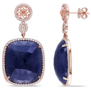 Miadora 14k Rose Gold 43 1/2ct Sapphire and 4/5ct TDW Diamond Earrings (G-H, SI1-SI2)