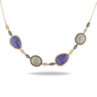 Miadora 14k Yellow Gold 31ct TGW Sapphire and Tanzanite Necklace