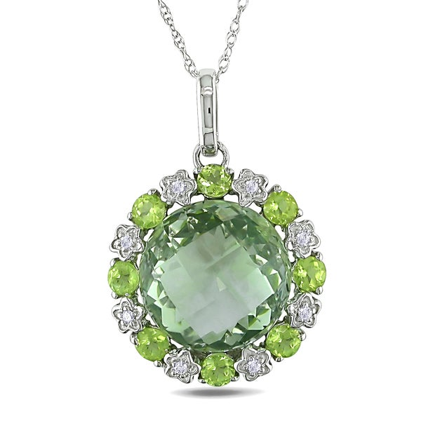 Miadora 10k White Gold Peridot, Green Amethyst and Diamond Accent Necklace