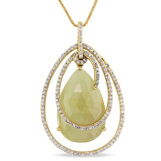 Miadora 14k Yellow Gold 15ct TGW Yellow and White Sapphire Necklace