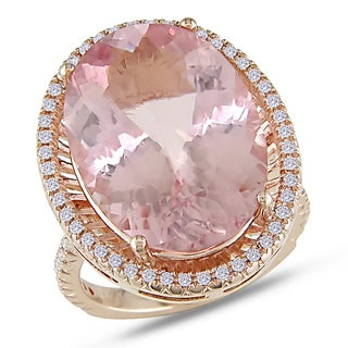 Miadora 18k Rose Gold 16ct Morganite and 2/5ct TDW Diamond Ring (G-H, SI1-SI2)