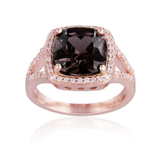 Glitzy Rocks Rose Gold Over Silver Smokey Quartz and White Topaz Ring