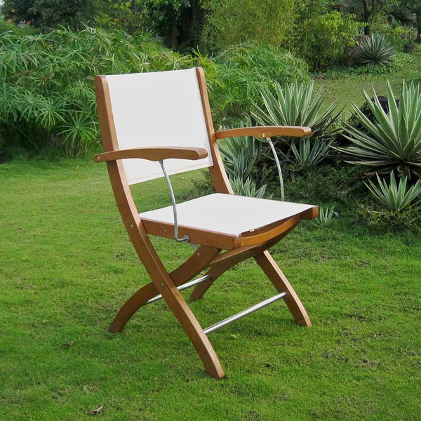 International Caravan Royal Tahiti Ivory Textilene Seat and Back Folding Armchair (Set of 2)