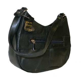 Hollywood Tag Black Lambskin Leather Boat-shaped Shoulder Bag