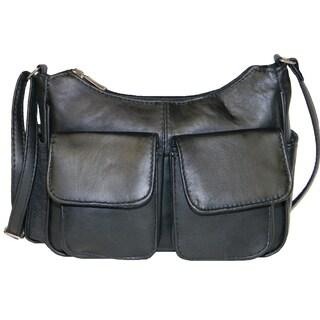 Hollywood Tag Black New Zealand Leather Double Pocket Handbag