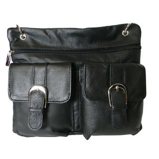 Hollywood Tag Black Leather Double Pocket Mini Messenger Bag