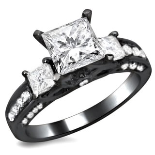 14k Black Gold 1.90ct TDW Certified 3 Stone Princess Cut Diamond Engagement Ring