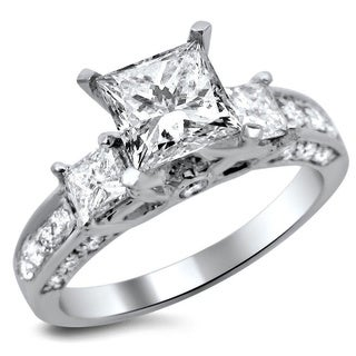 14k Gold 1.90ct TDW Certified 3 Stone Princess Cut Diamond Engagement Ring