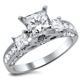 Noori 14k White Gold 1. 5/8ct TDW Certified 3 Stone Enhanced Princess Cut Diamond Engagement Ring