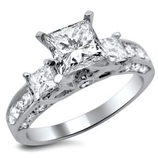 14k White Gold 1.65ct TDW Certified 3 Stone Enhanced Princess Cut Diamond Engagement Ring