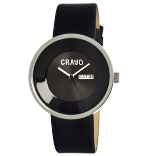 Crayo Men's Button Black Leather Analog Watch
