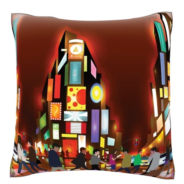 Busy City Lights Night 18-inch Polyester Velour Throw Pillow