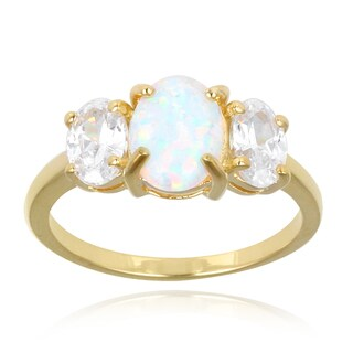 Glitzy Rocks Sterling Silver Created Opal and Cubic Zirconia Ring (1 7/8ct TGW)