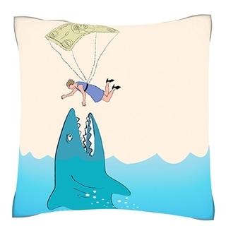 Money Shark 18-inch Polyester Velour Throw Pillow