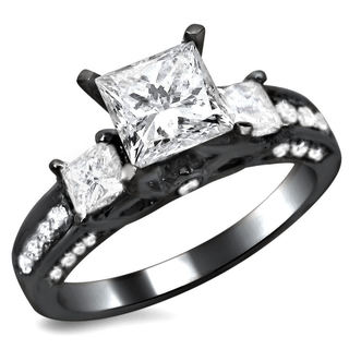 14k Black Gold 1 1/2ct TDW Certified 3-stone Enhanced Princess Cut Diamond Engagement Ring