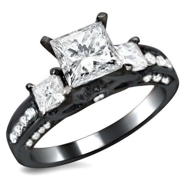 14k Black Gold 1 1 2ct TDW Certified 3 stone Enhanced Princess Cut Diamond En