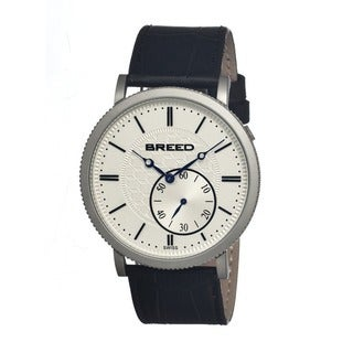 Breed Men's 'Maxwell Silver-Tone' Black Leather Watch