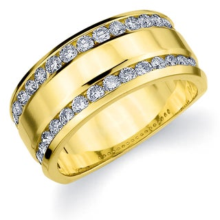14k Yellow Gold 1ct TDW Machine-set Double Row Diamond Anniversary Band (H-I, I1-I2)