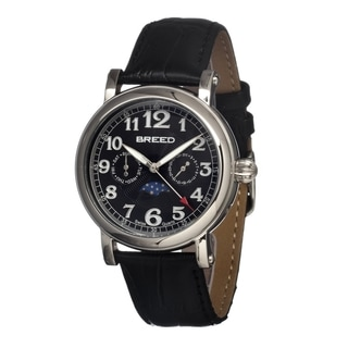 Breed Men's 'Raven Black' Leather Watch