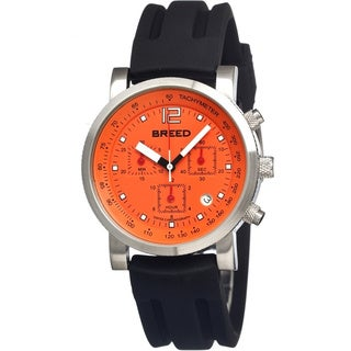 Breed Men's 'Manning' Orange Silicone Black Analog Watch