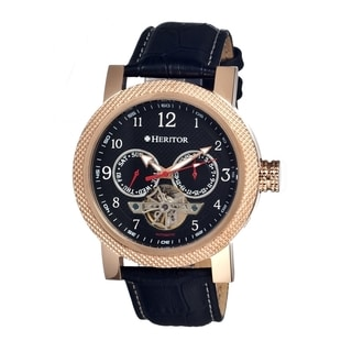 Heritor Men's 'Millennial Black' Leather Automatic Watch