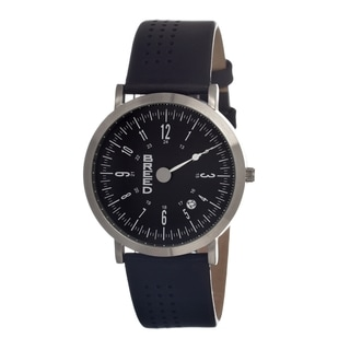 Breed Men's 'Kimble' Black Leather Black Analog Watch